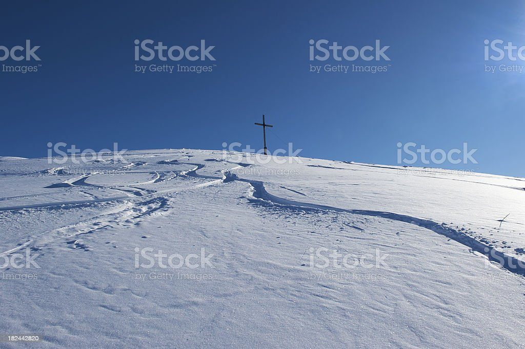 Powder snow on the summit royalty-free stock photo