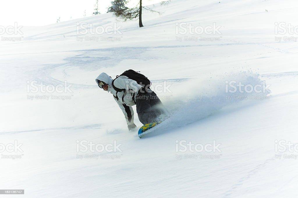 powder snow snowboarding stock photo