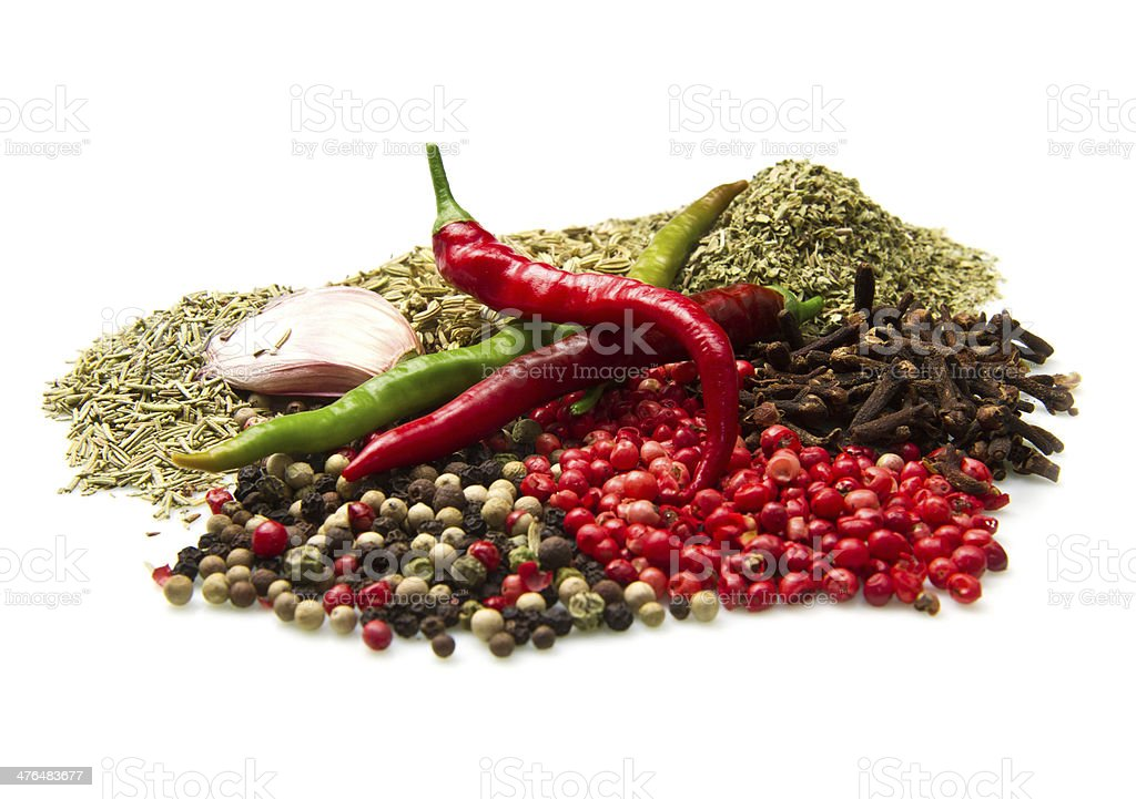Powder spices  in white table background royalty-free stock photo
