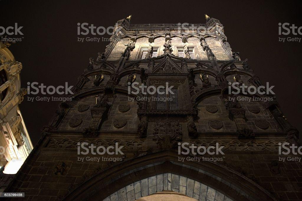 Powder Tower by night, Prague, Czech Republic stock photo