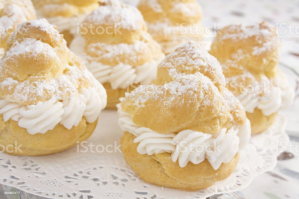 Powdered Cream Puffs royalty-free stock photo