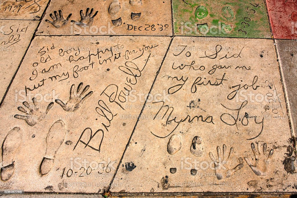 Powell and Loy hand and shoe prints in Hollywood CA stock photo