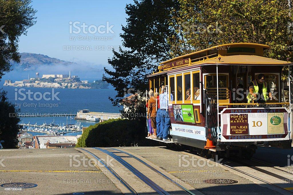Powell Hyde Cable Car Alcatraz San Francisco stock photo
