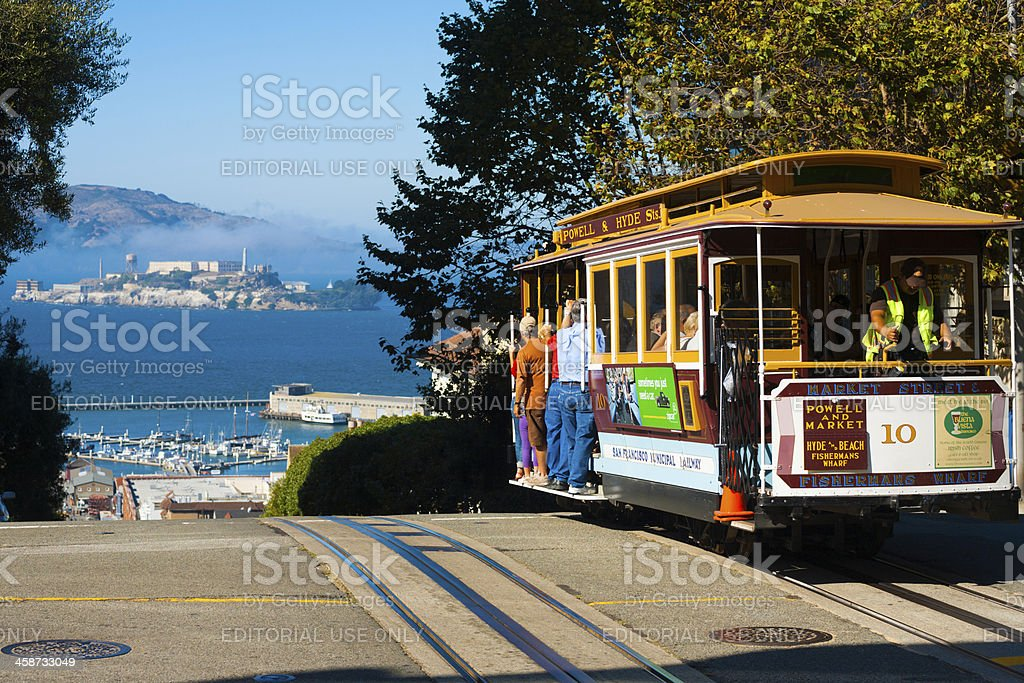 Powell Hyde Cable Car Alcatraz San Francisco stock photo