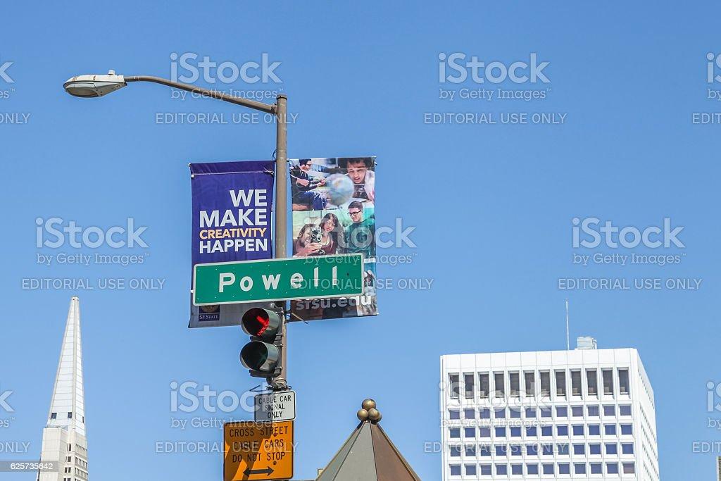 Powell street sign stock photo