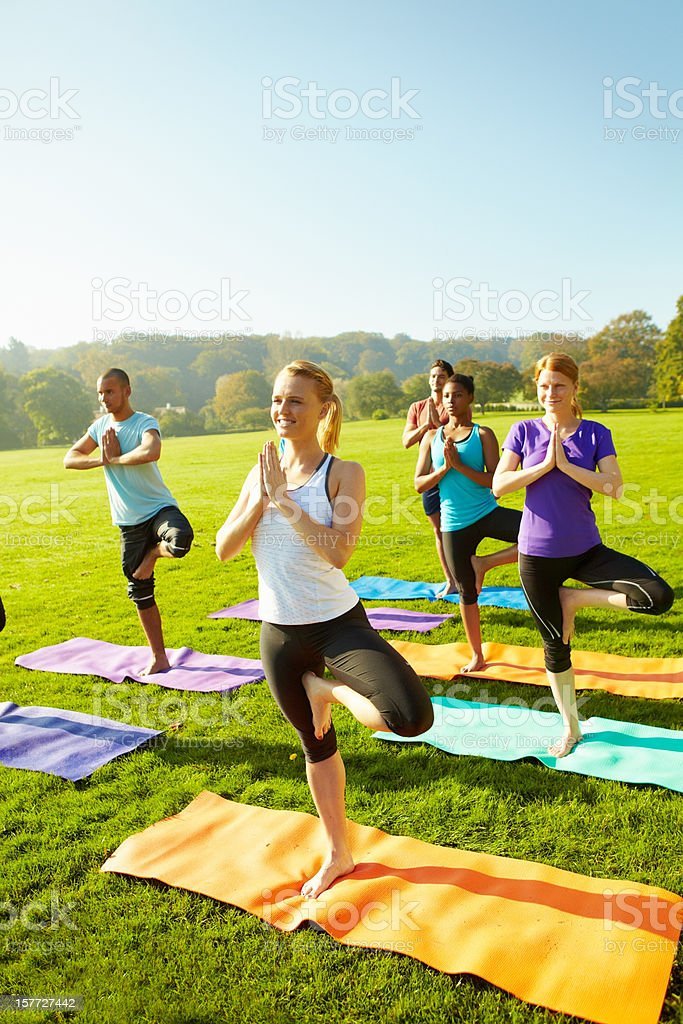 Power and balance to start the day off - Yoga royalty-free stock photo