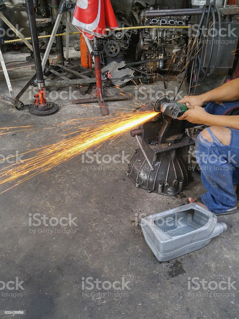 Power and fire in working stock photo