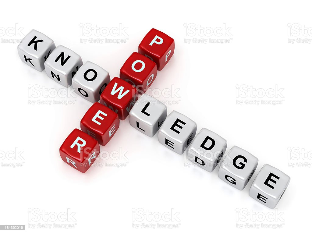 Power and Knowledge crosswords stock photo