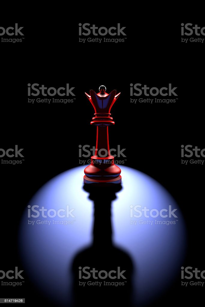 Power and loneliness.The most powerful chess piece stock photo