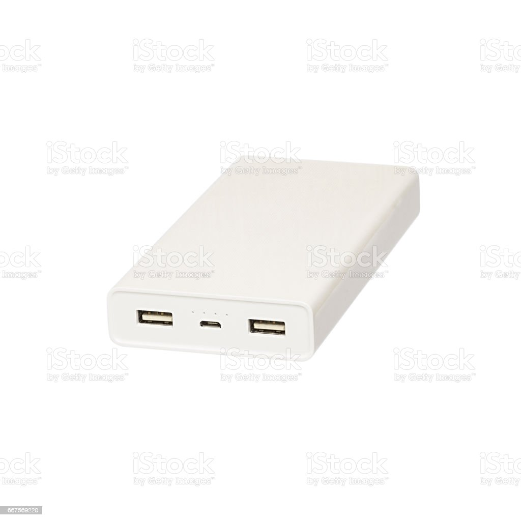 power bank isolated on white background stock photo