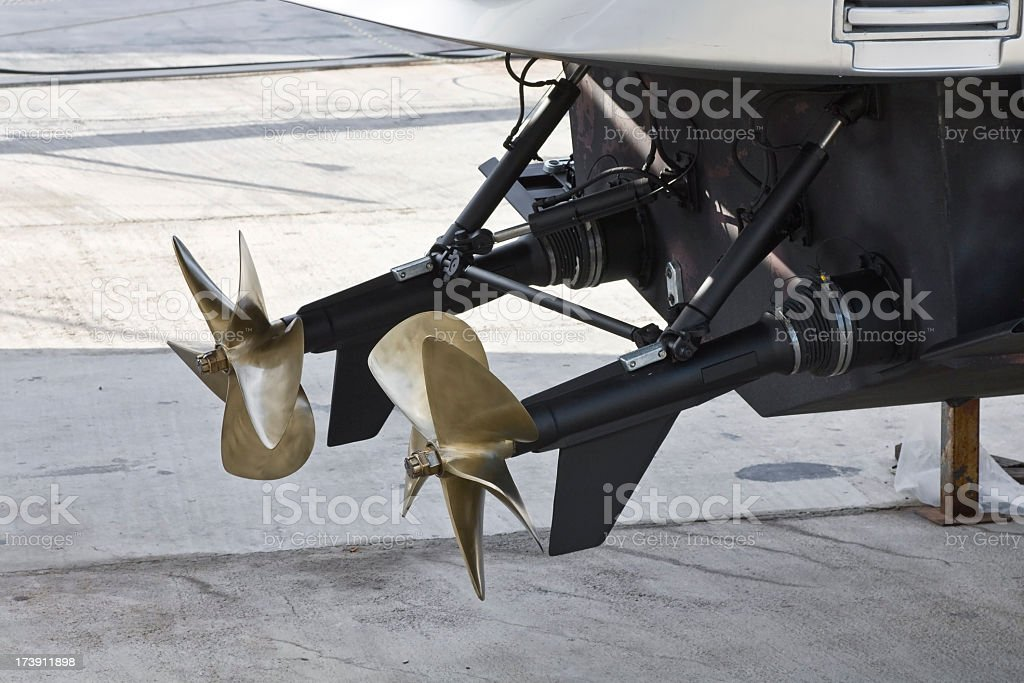 power boat propellers stock photo