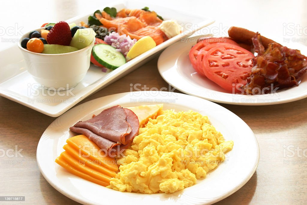 Power Breakfast - Eggs, fruits and meats royalty-free stock photo