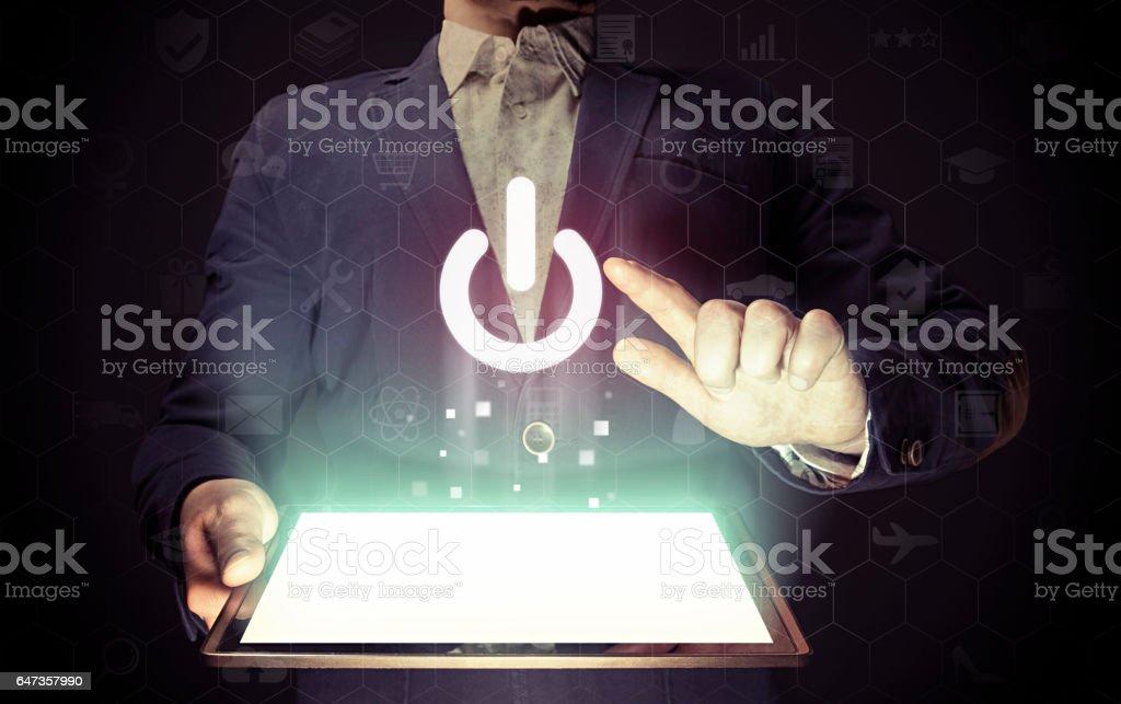 Power button icon. stock photo