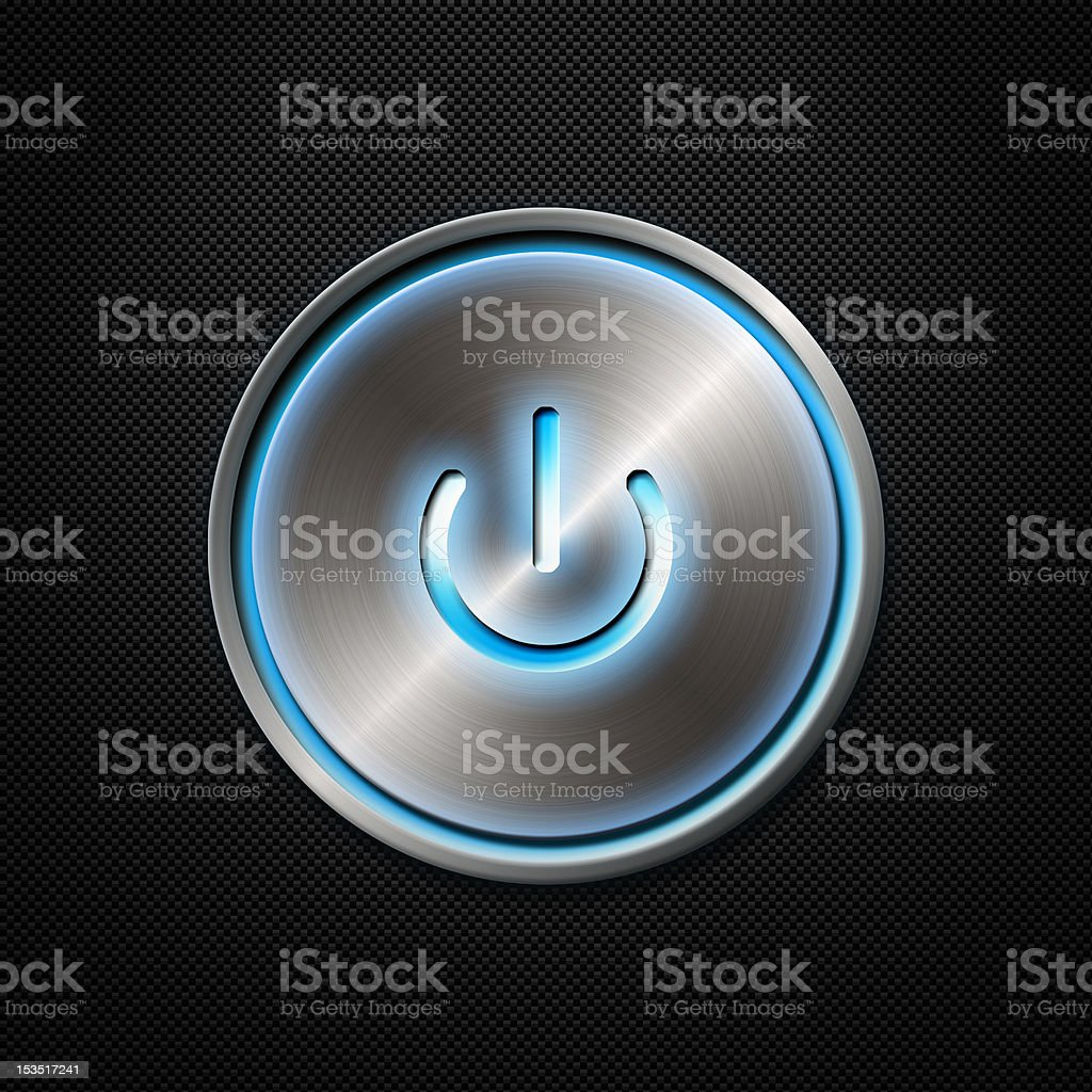 Power button on carbon fiber background royalty-free stock photo