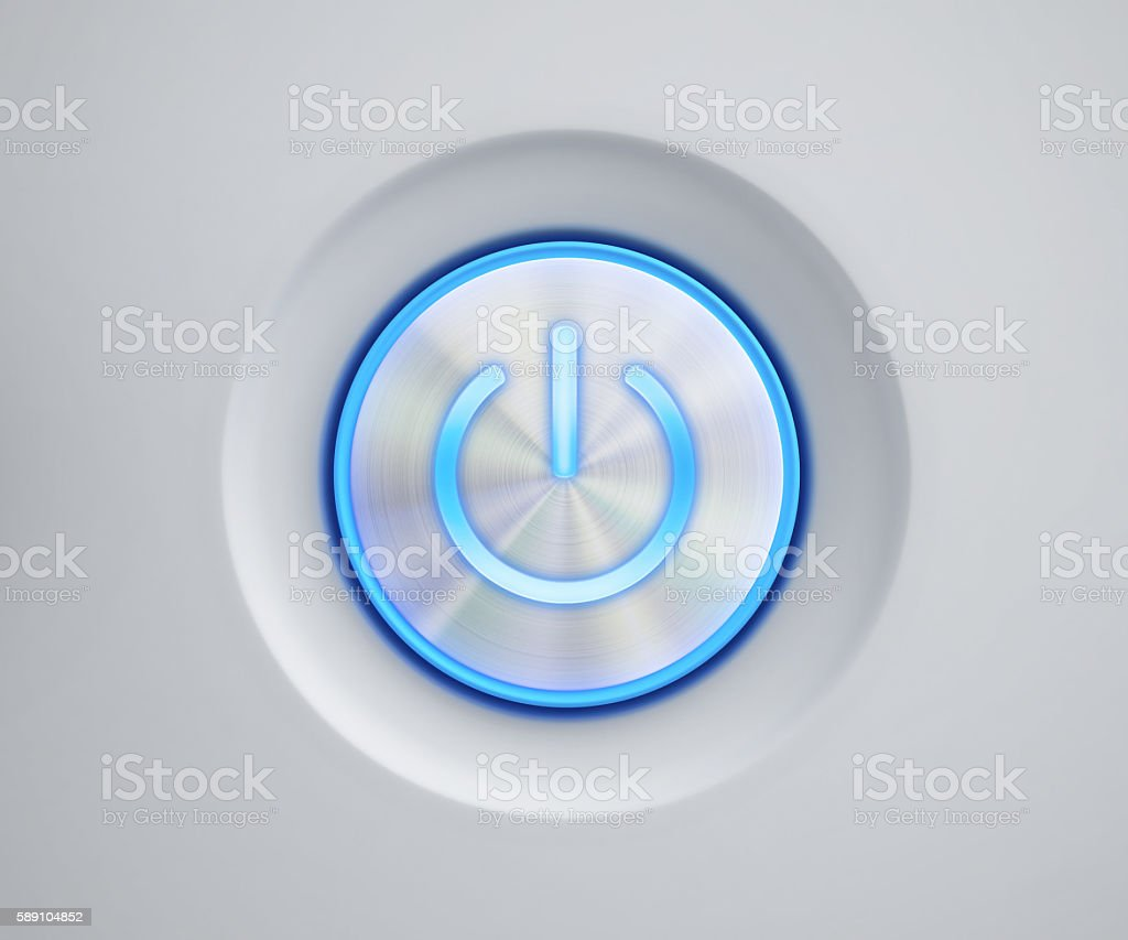 Power button with blue glow stock photo