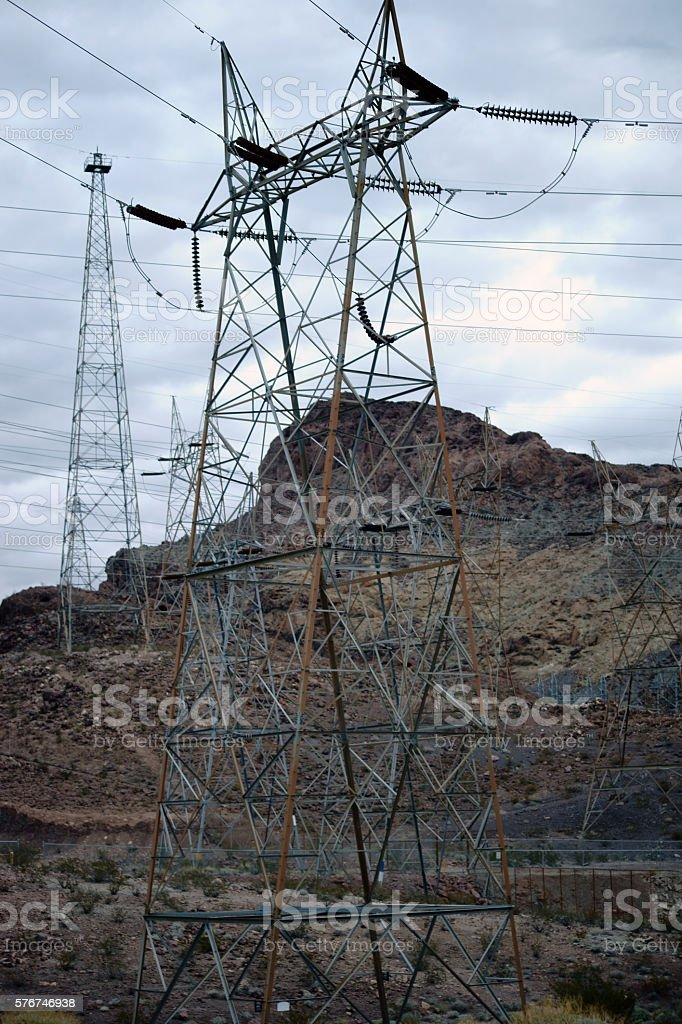 Power cable masts in Black Canyon stock photo