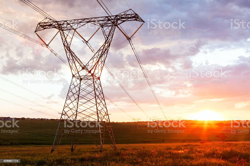 Power cable with beautiful background with sunset stock photo