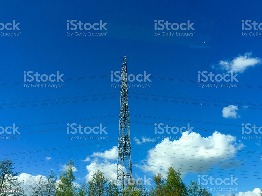 Power cables in blue sky in the Netherlands stock photo