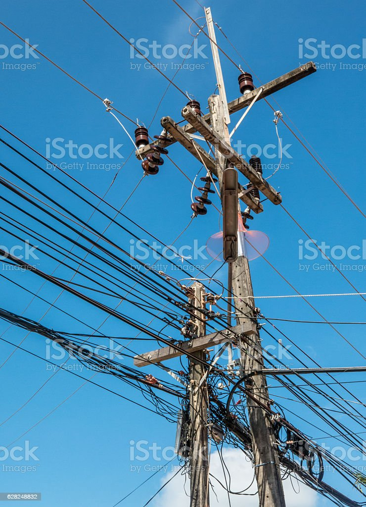 Power Communications Line Cable Electricity Technology Wires stock photo