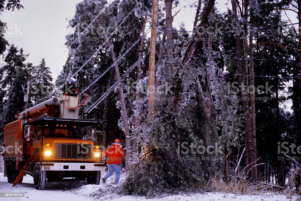power company winter storm repairs stock photo