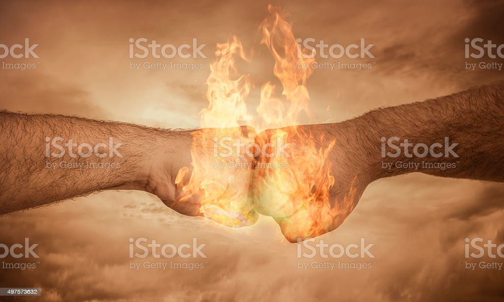 Power Concept with fists together stock photo