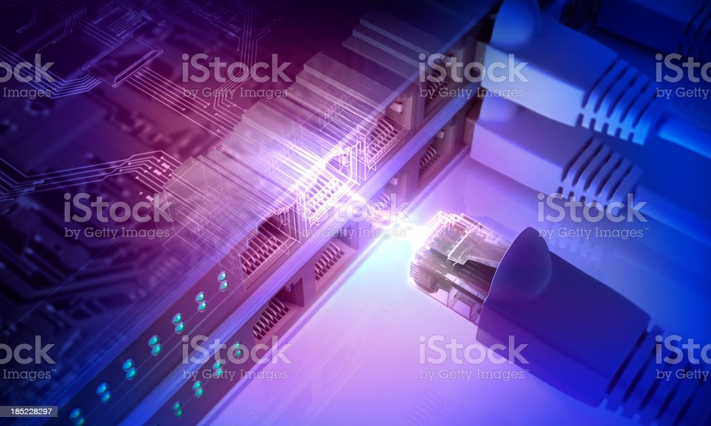 Power connection with connecting cords stock photo