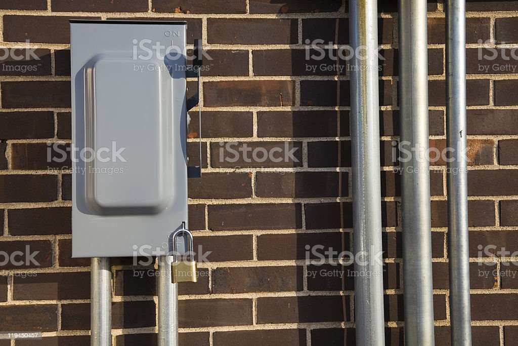Power disconnect and conduits stock photo