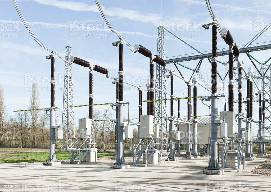 Power distribution field stock photo
