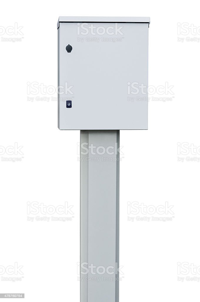 Power distribution wiring switchboard panel outdoor unit, grey, isolated closeup stock photo