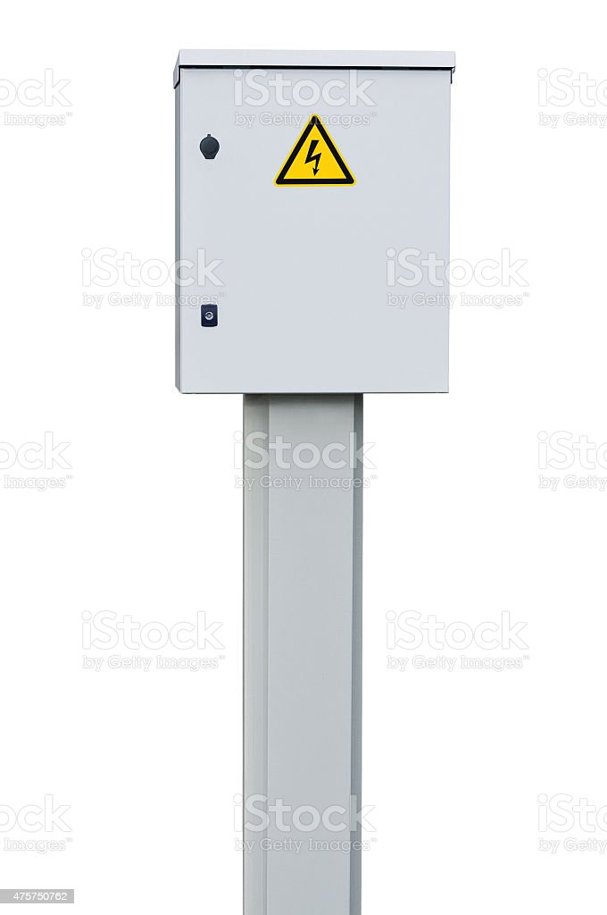 Power distribution wiring switchboard panel outdoor unit, isolated closeup stock photo