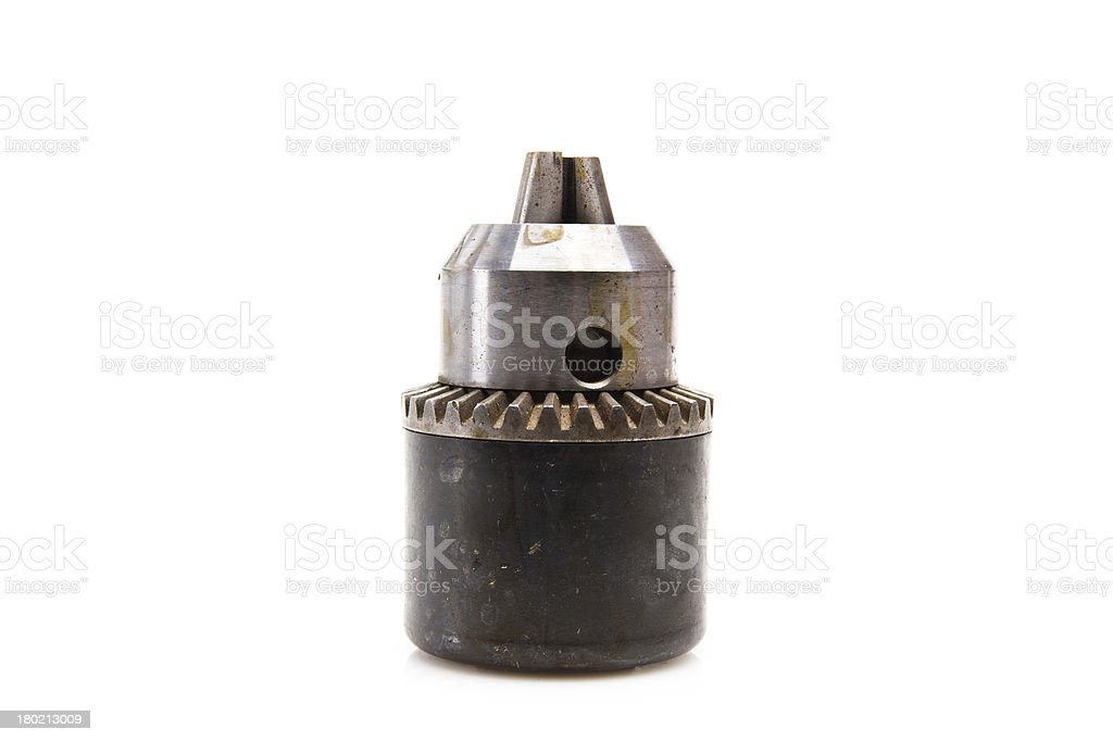 Power drill head over white background royalty-free stock photo