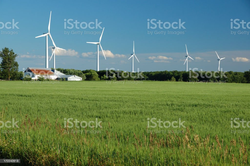 Power generating wind farm in the Ontario countryside stock photo