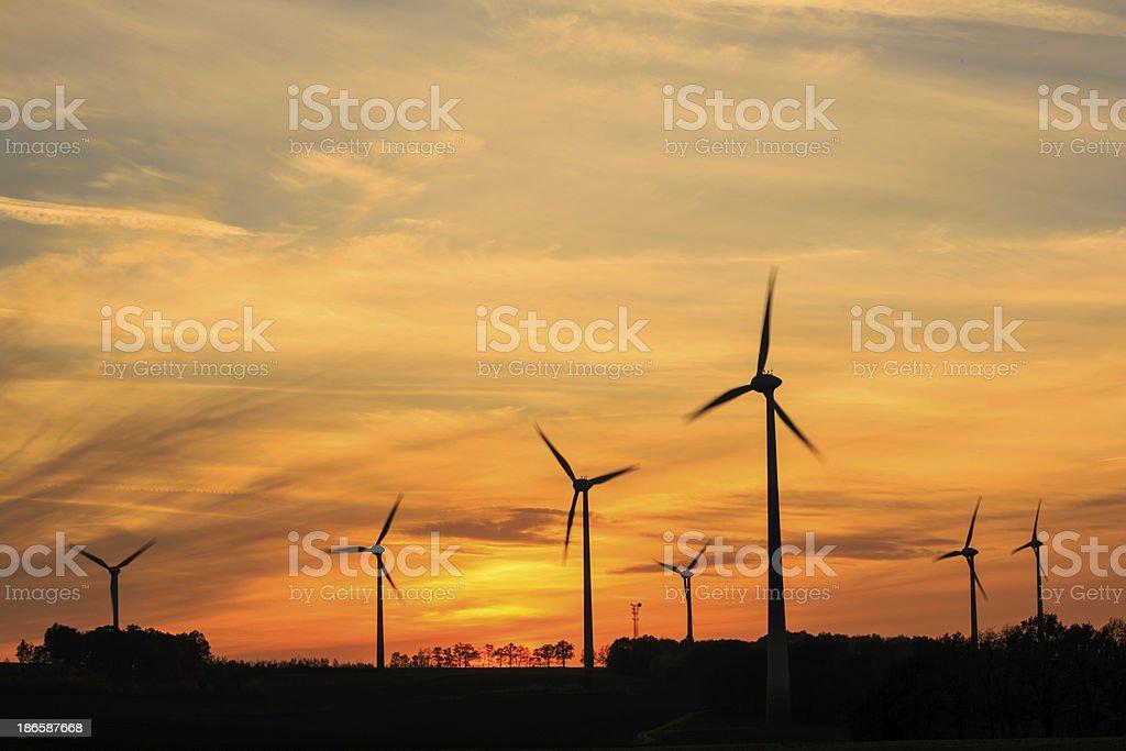 power generating wind turbines royalty-free stock photo