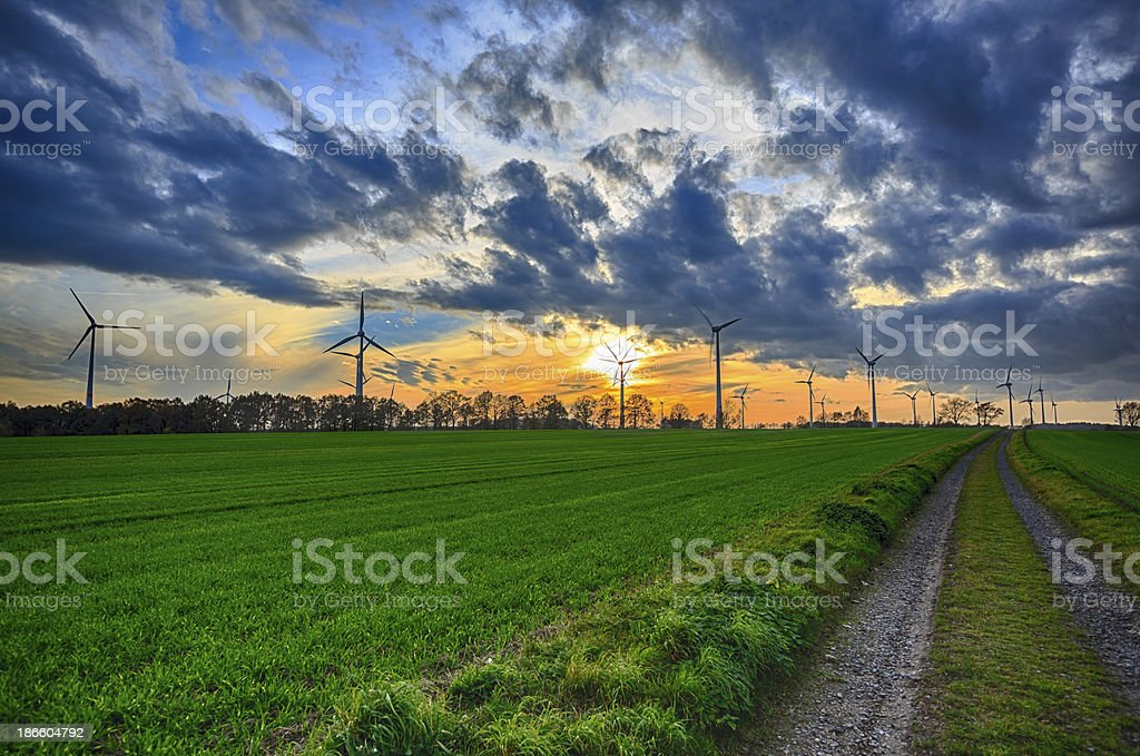 power generating wind turbines (HDR) royalty-free stock photo