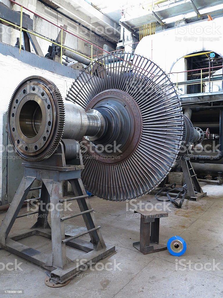 Turbinas poder gerador de vapor durante reparação de Flora foto de stock royalty-free