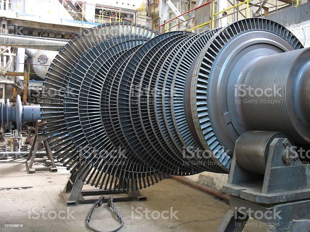 Power generator steam turbine during repair, machinery stock photo