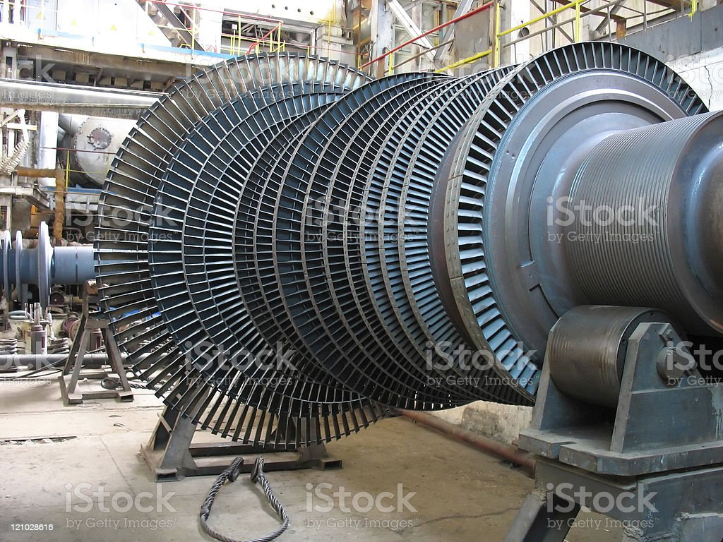 Power generator steam turbine during repair, machinery stock photo
