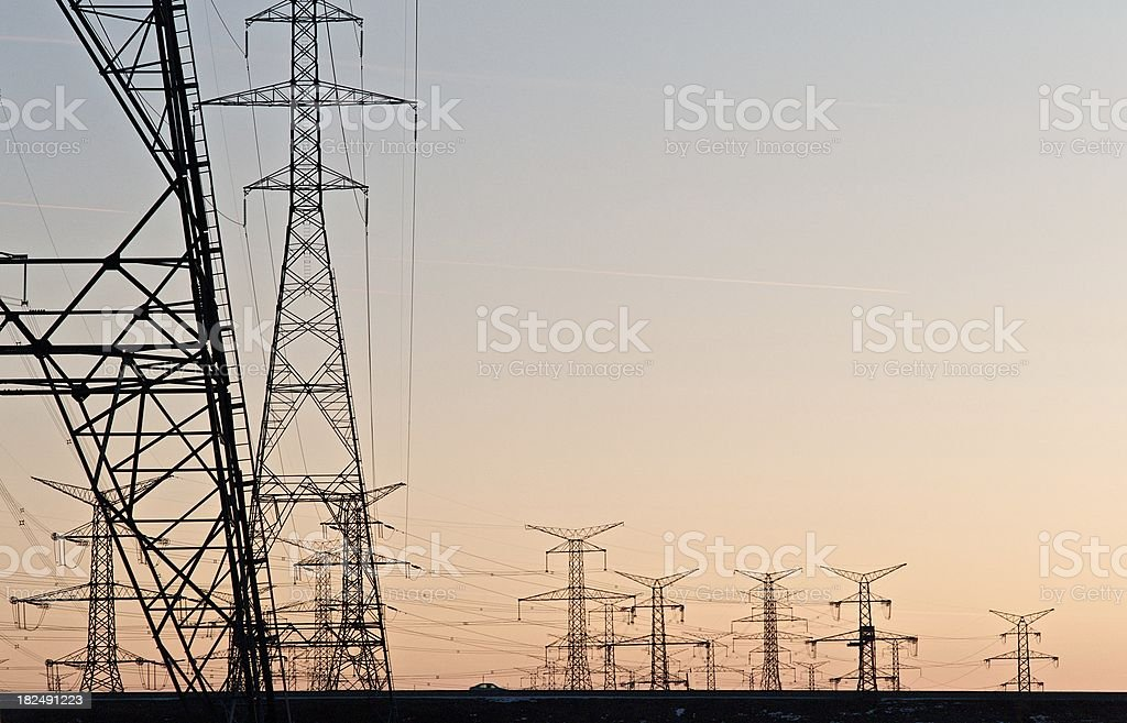 Power Grid at Sunset stock photo