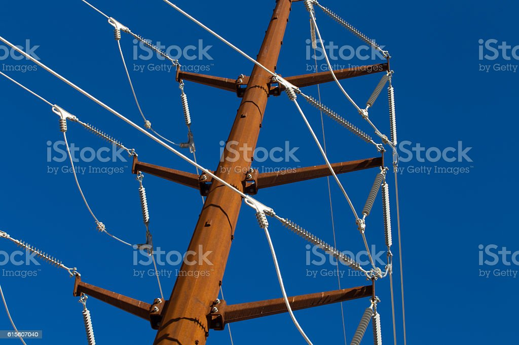 Power grid electrical lines stock photo