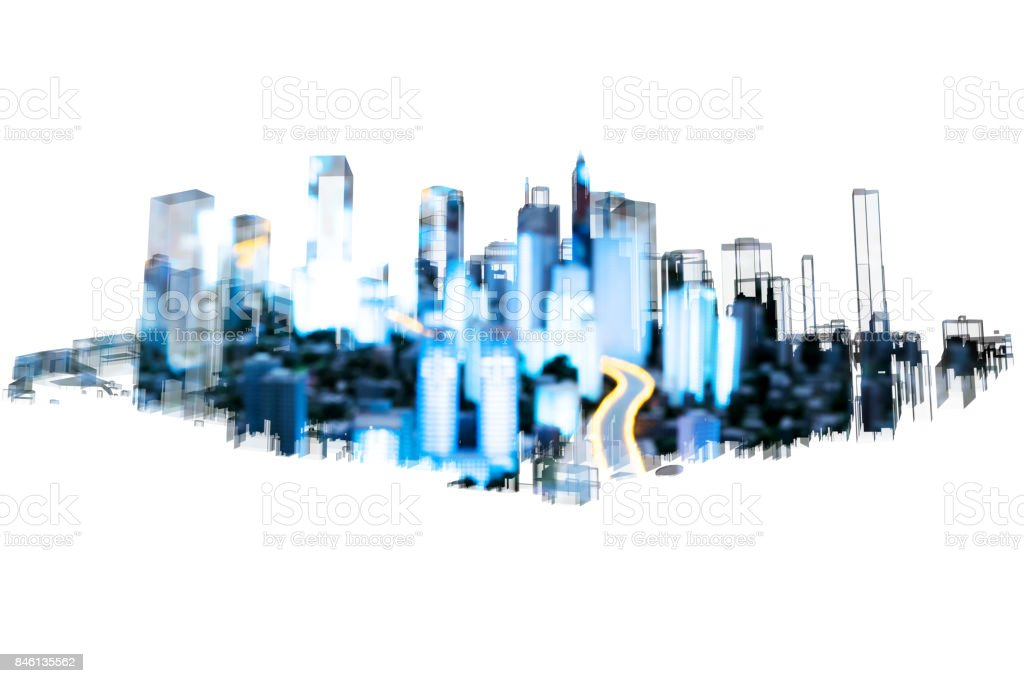 Power grid , smart city energy , electric Energy Distribution chain industry technology concept.  3D rendering of building and blur city bokeh with white background. stock photo
