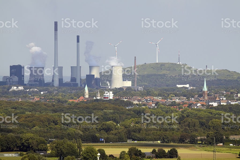 Power house and wind engines stock photo