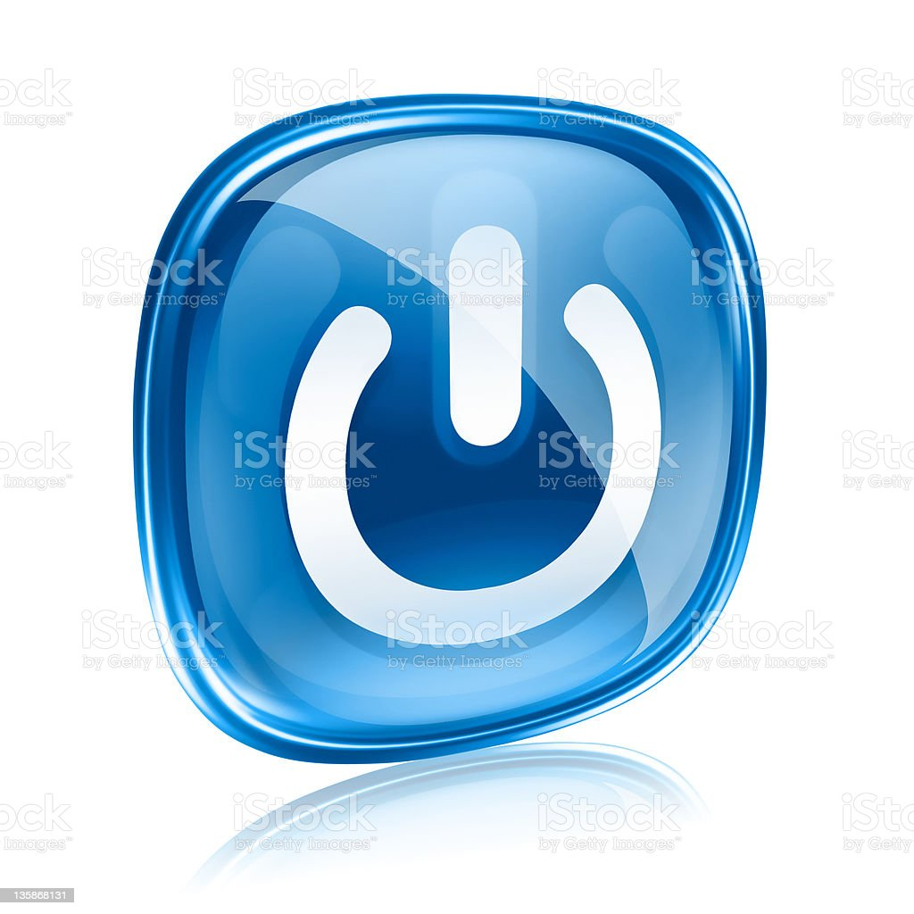 power icon blue glass, isolated on white background. royalty-free stock photo