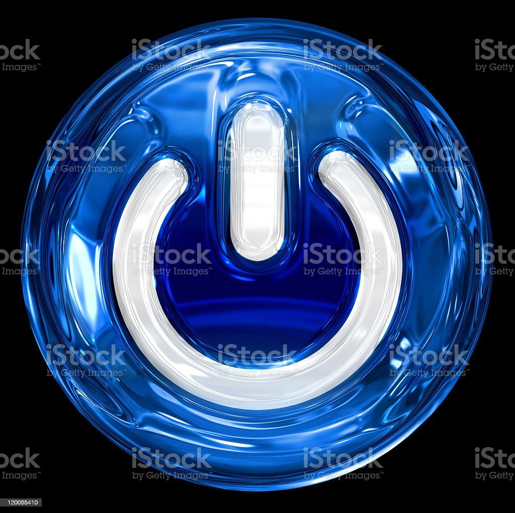 power icon dark blue, isolated on black background royalty-free stock photo