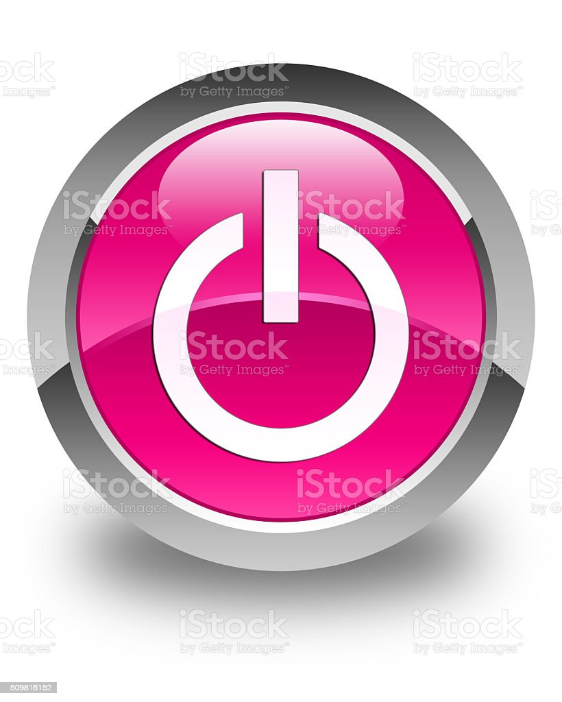 Power icon glossy pink round button stock photo