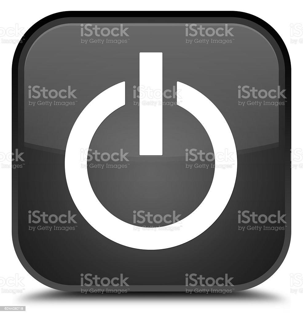 Power icon special black square button stock photo