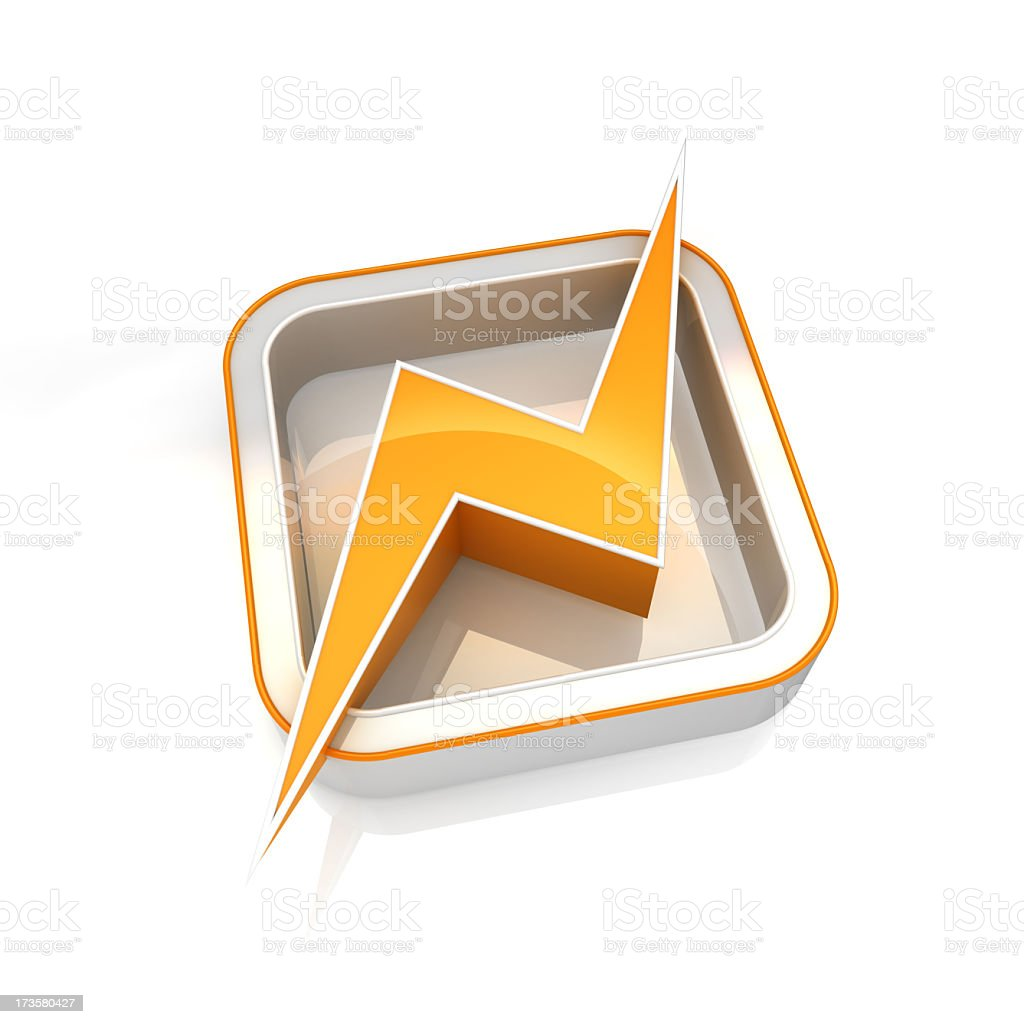 Power icon symbol with yellow lightening bolt royalty-free stock photo