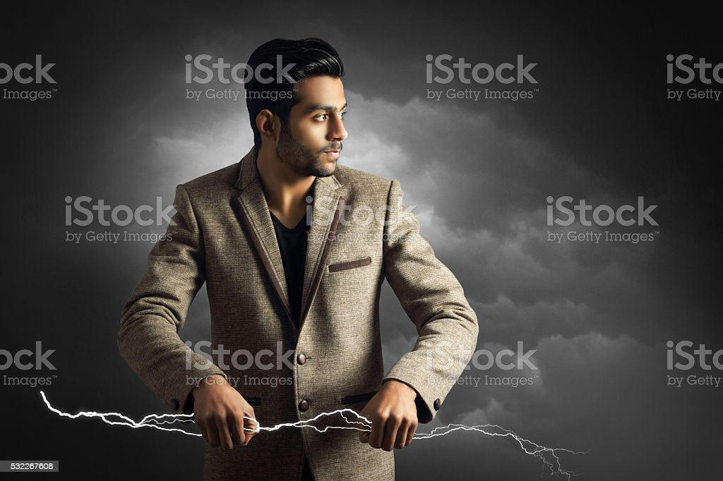 Power in hand stock photo