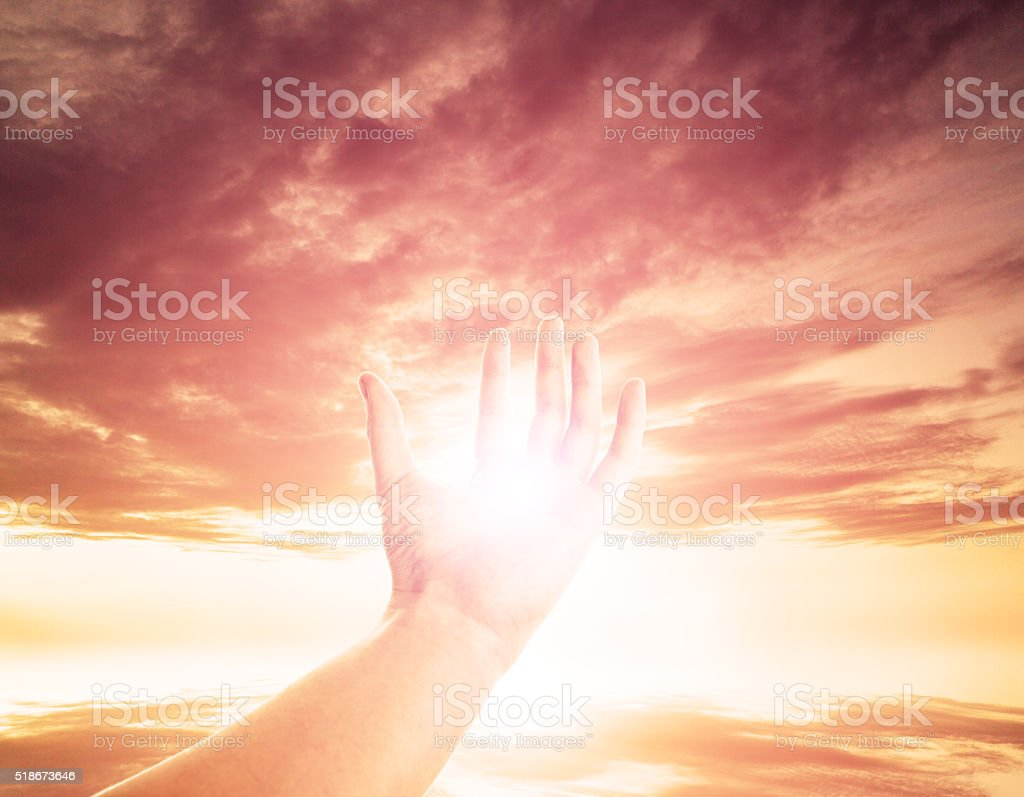 Power in the hand stock photo