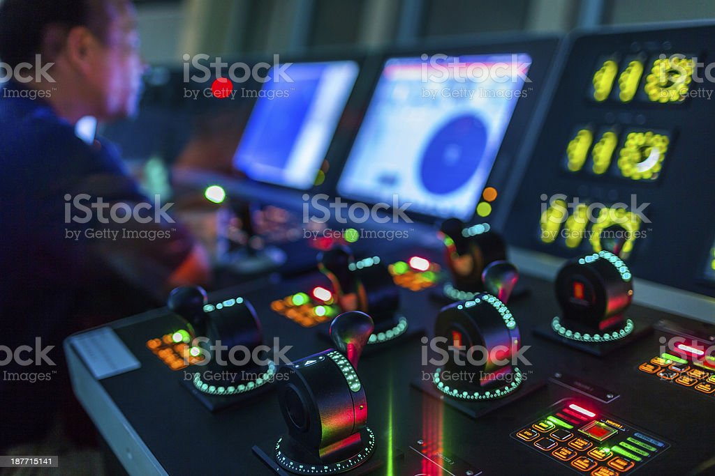 Power Launch Instrumentation of Oil drill platform stock photo