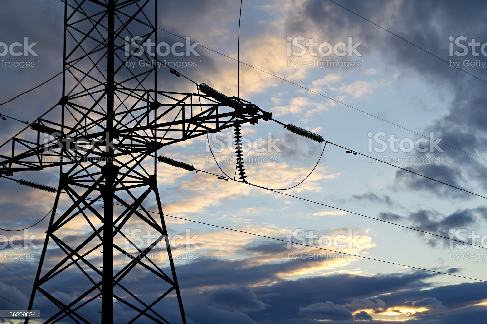 power line against the stormy sky royalty-free stock photo